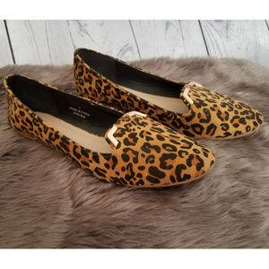 ASOS cheetah print loafers gold metal trim 7
